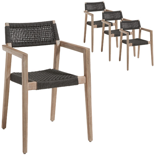 Linea Furniture Dark Grey Parisa Rope Outdoor Dining Chairs