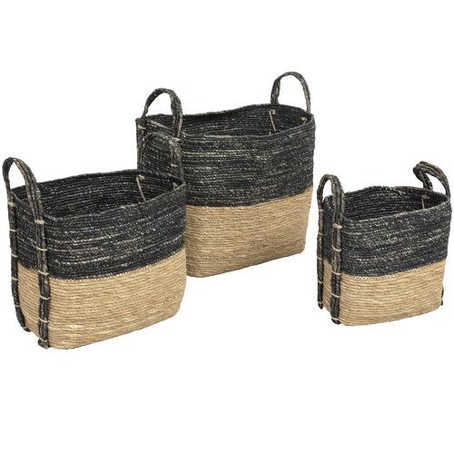 Linea Furniture 3 Piece Oblong Maize Leaf Baskets
