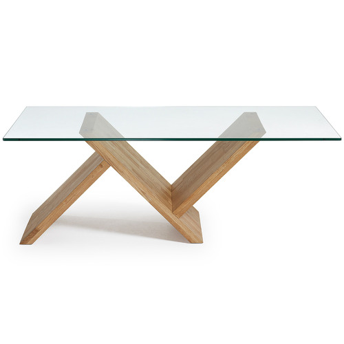 Sculptural Glass & Oak Wood Table
