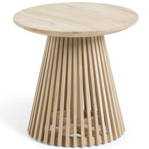 Round Teak Side Table.Darla Round Teak Wood Side Table
