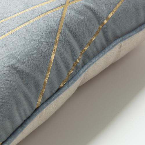 Linea Furniture Light Blue & Gold Gala Velvet Cushion