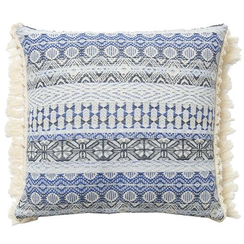 Linea Furniture Blue Zadie Fringed Cushion