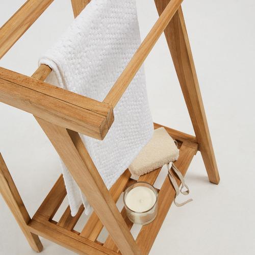 Linea Furniture Free Standing Teak Wood Towel Rack