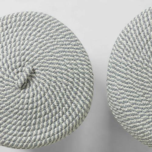 Linea Furniture 2 Piece Spencer Cotton Blend Basket Set with Lids
