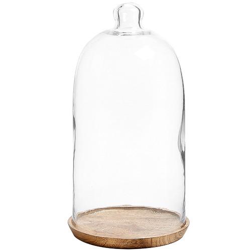 Linea Furniture Byron Glass & Wood Cloche