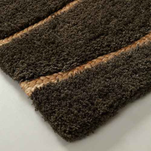 Linea Furniture Charcoal Carmen Wool & Jute Rug