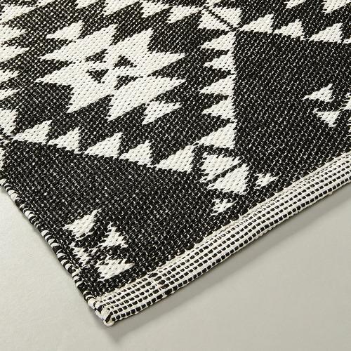 Linea Furniture Black Akira Hand-Woven Outdoor Rug