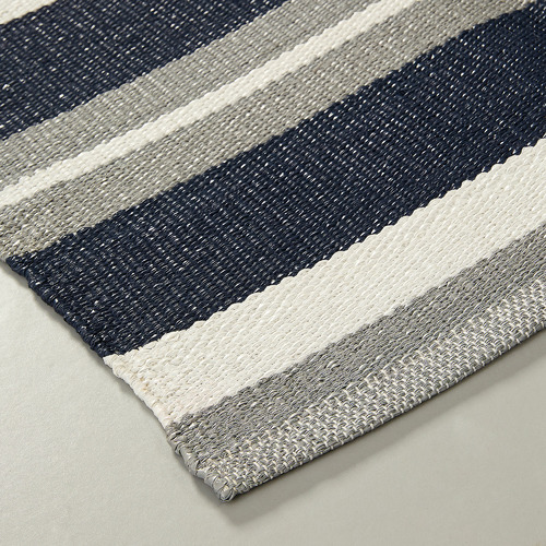 Linea Furniture Grey & Blue Shery Hand-Woven Outdoor Rug