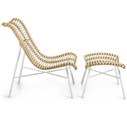 Linea Furniture Natural Krista Rattan Lounge Chair with Footstool