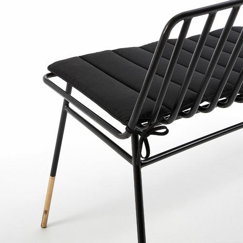 Linea Furniture Black Rashi Metal Outdoor Bench