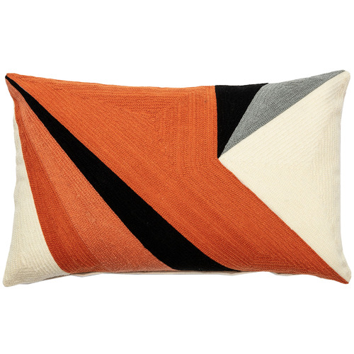 Linea Furniture Orange Rashi Cotton-Blend Rectangular Cushion