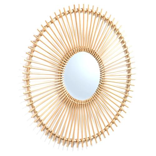 Linea Furniture Natural Pilvi Hand Made Rattan Mirror