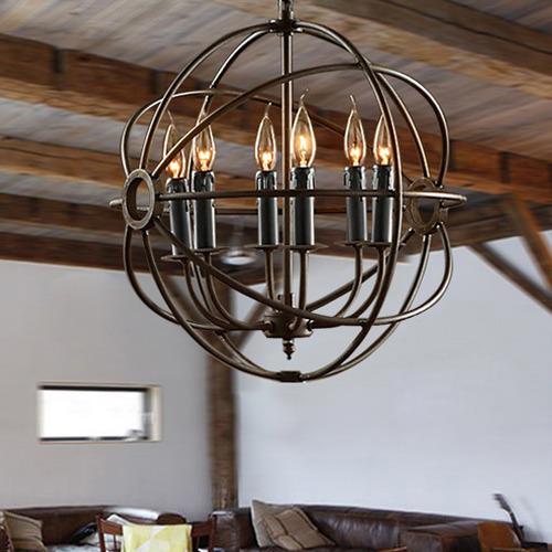 Observatory Lighting Foucault's Orb Iron Chandelier Rustic Iron Replica