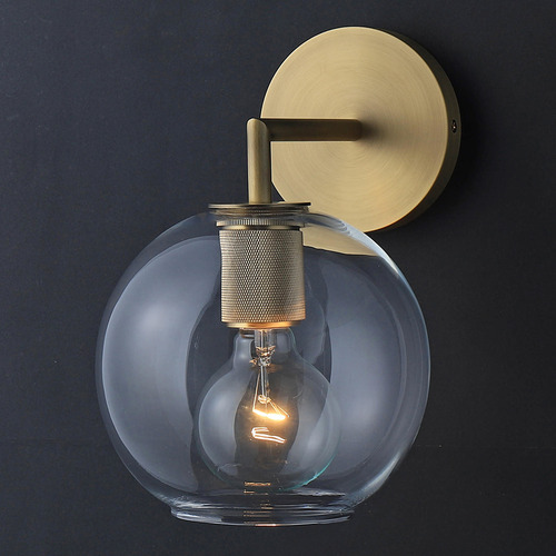 Observatory Lighting Clear & Gold Utilitaire Globe Replica Glass Wall Light