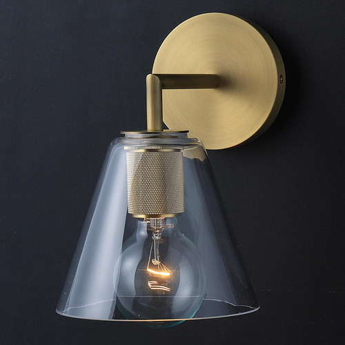 Observatory Lighting Clear & Gold Utilitaire Funnel Replica Glass Wall Light