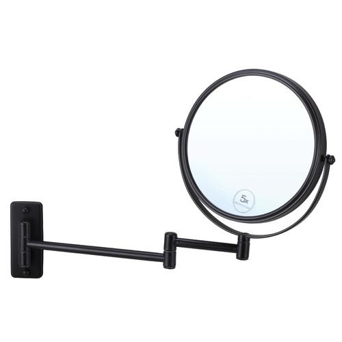 Thermogroup Matte Black Round Shaving Mirror