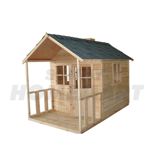 White Angel Outdoor Wooden Cubby Playhouse & Verandah