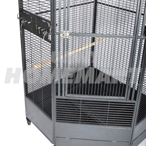 Extra Large Corner Parrot Aviary Bird Cage with Wheels ...