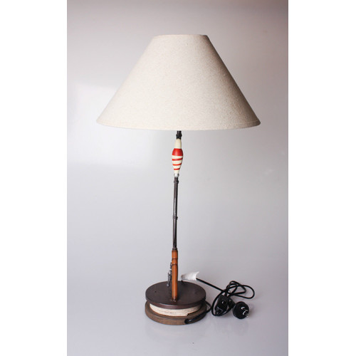 wooden fish rod base table lamp with cream shade temple webster. Black Bedroom Furniture Sets. Home Design Ideas