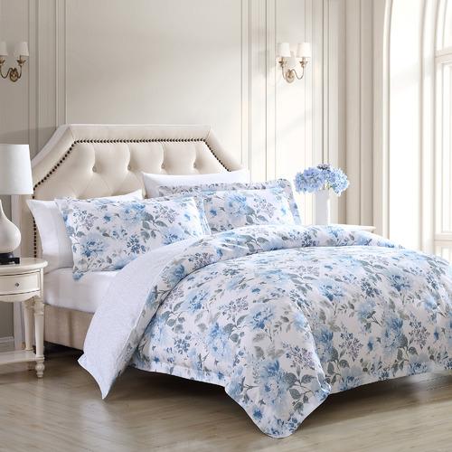 Cottage Blue Chloe Cotton Quilt Cover Set