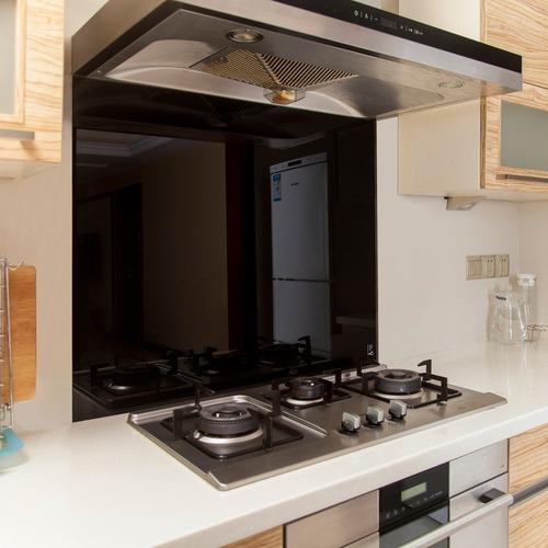 Essential Home Supply Black Kitchen Toughened Glass Splashback