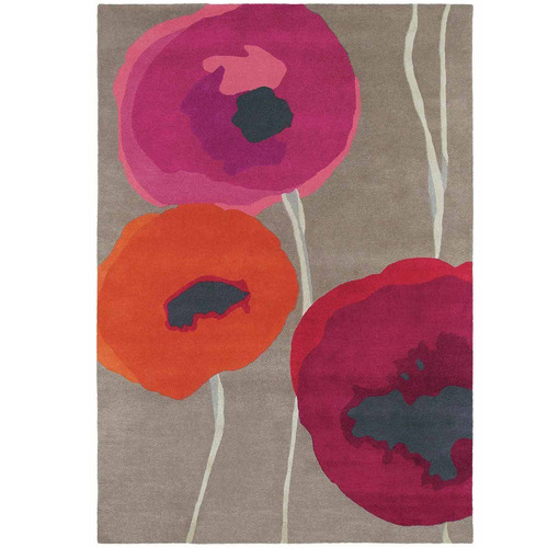 Sanderson Red Poppies Hand-Tufted Wool Rug