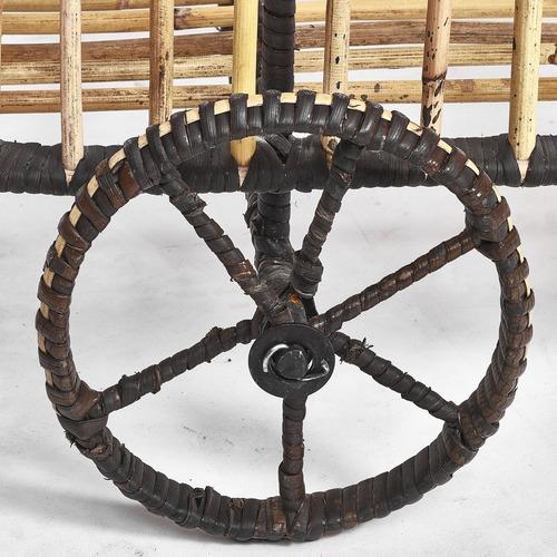 One World Rattan & Iron Black Wrap Bar Cart