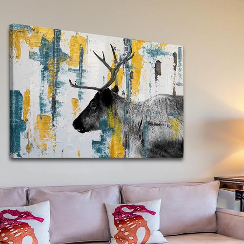 Parvez Taj Teal Yellow Reindeer Canvas Wall Art Temple Webster