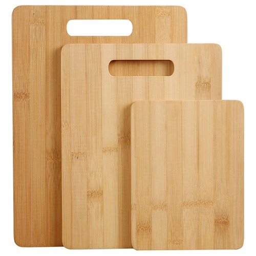 Natural Tag Rectangular Two Tone Bamboo Cutting Board with Handle