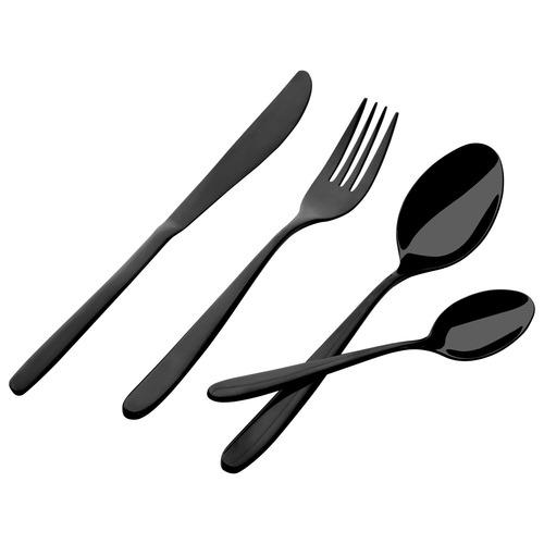 Gourmet Kitchen 24 Piece Premium Black Titanium Alloy Cutlery Set