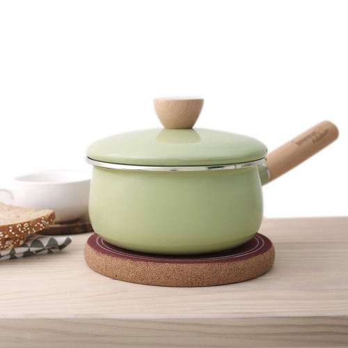 Gourmet Kitchen Green 11cm/1.4L Enamel Saucepan with Lid