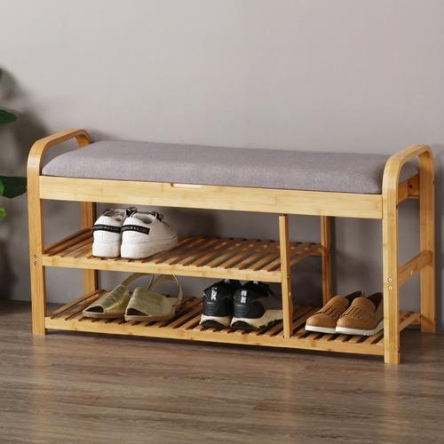 Sherwood Housewares Cushioned, Bench With Shoe Storage