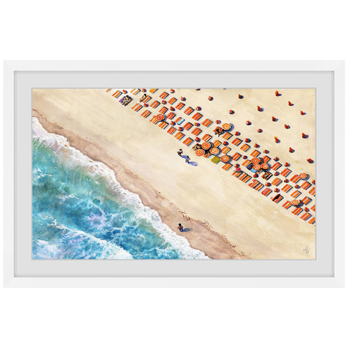 Marmont HIll Beach Blanket Rows Framed Printed Wall Art