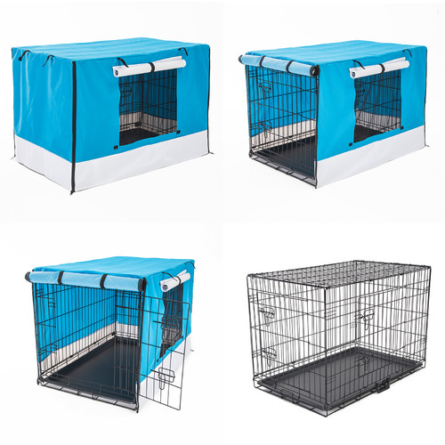 Trinity Collapsible 2 Door Metal Dog Cage with Cover & Tray