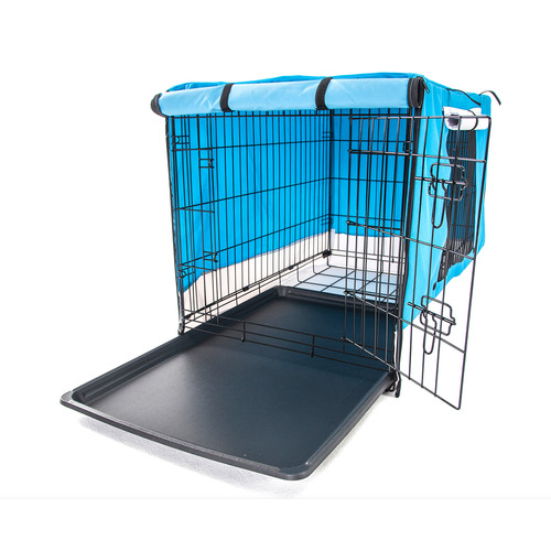 Collapsible 2 Door Metal Dog Cage with Cover & Tray
