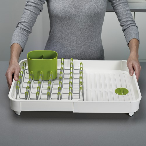 Joseph Joseph White & Green Extendable Dish Rack