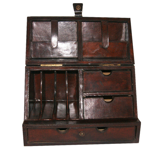 Kundra Dark Leather Stationery Box