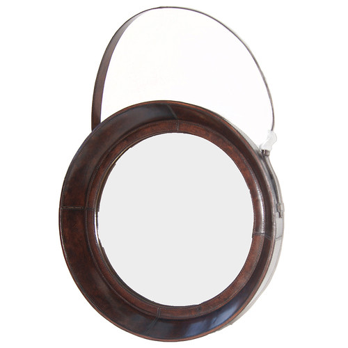 Kundra Dark Leather Round Mirror