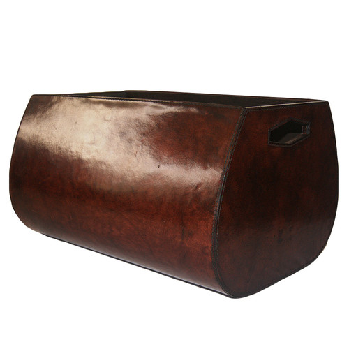 Kundra Dark Leather Oval Basket