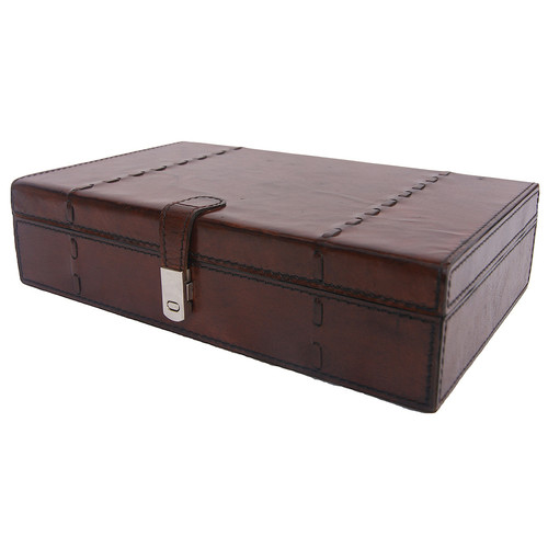 Kundra Dark Leather Stitch Jewellery Box