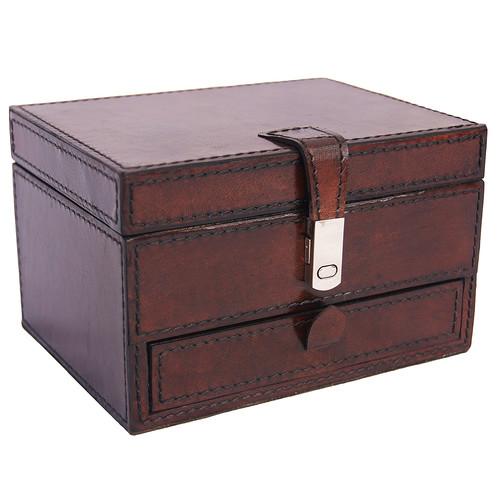 Kundra Dark Leather Drawer Jewellery Box