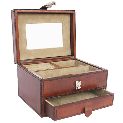 Kundra Tan Leather Drawer Jewellery Box