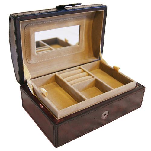 Kundra Dark Leather Curve Top Jewellery Box