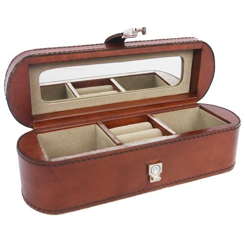 Kundra Tan Leather Travel Jewellery Box