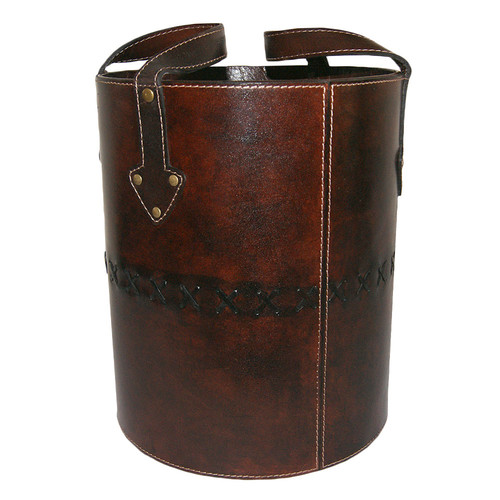 Kundra Dark Leather Round Basket