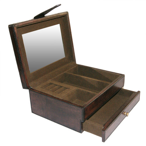Kundra Dark Leather Jewellery Box with Draw