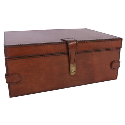 Kundra Tan Leather Large Jewellery Box