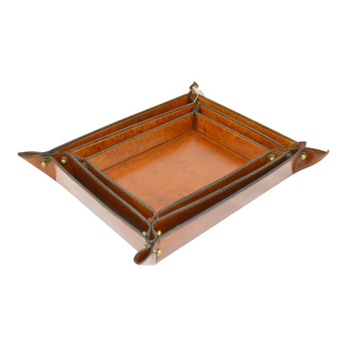 Kundra Genuine Leather Rectangular Coin Trays
