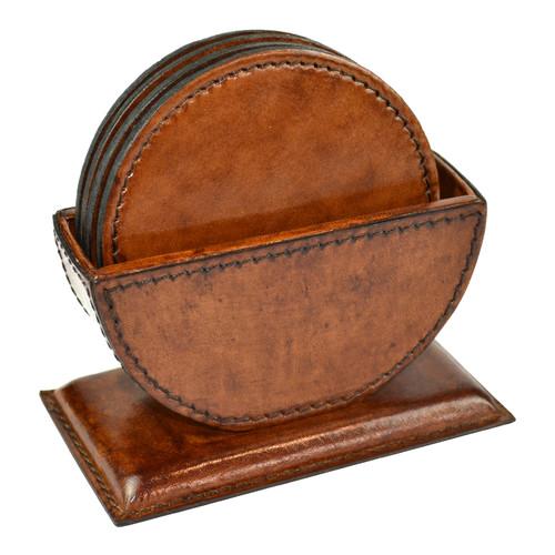 Kundra Genuine Leather Round Coasters