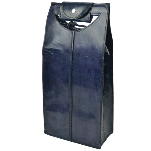 Kundra Blue Novellino Leather Double Wine Carrier